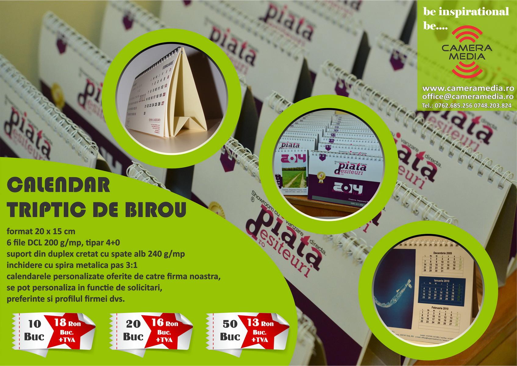 Calendar Triptic Birou Personalizat 2018 Craiova | Tiparituri Craiova | Promotionale Craiova | Calendare Personalizate Craiova 2018 | agende Personalizate Craiova 2018