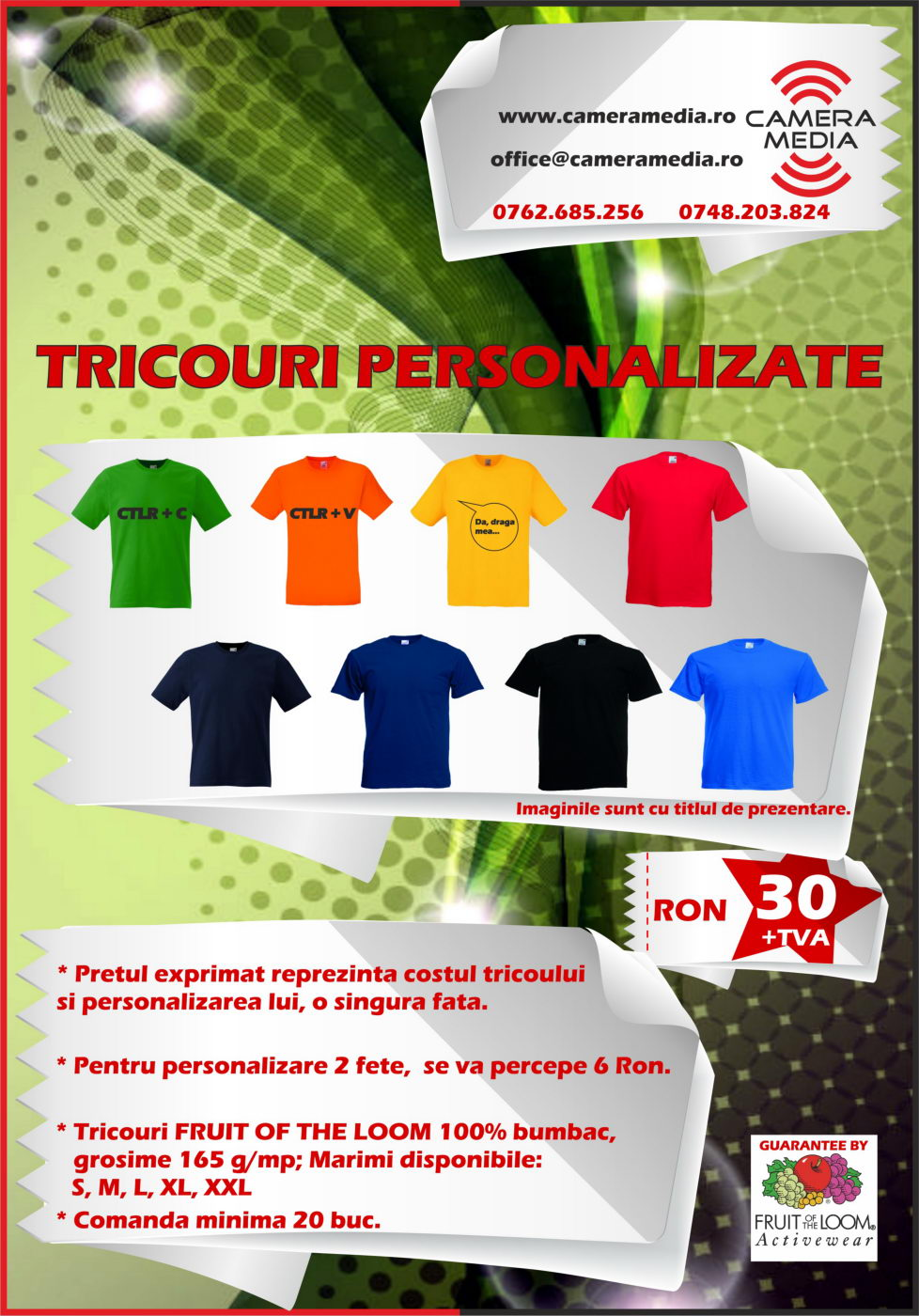 Ofreta Tricou Personalizat Maneca Scurta Fruit of the Loom