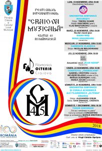 Afis FESTIVALUL INTERNATIONAL CRAIOVA MUZICALA | Editia 45 Romaneasca | Agentie de publicitate Camera Media Craiova